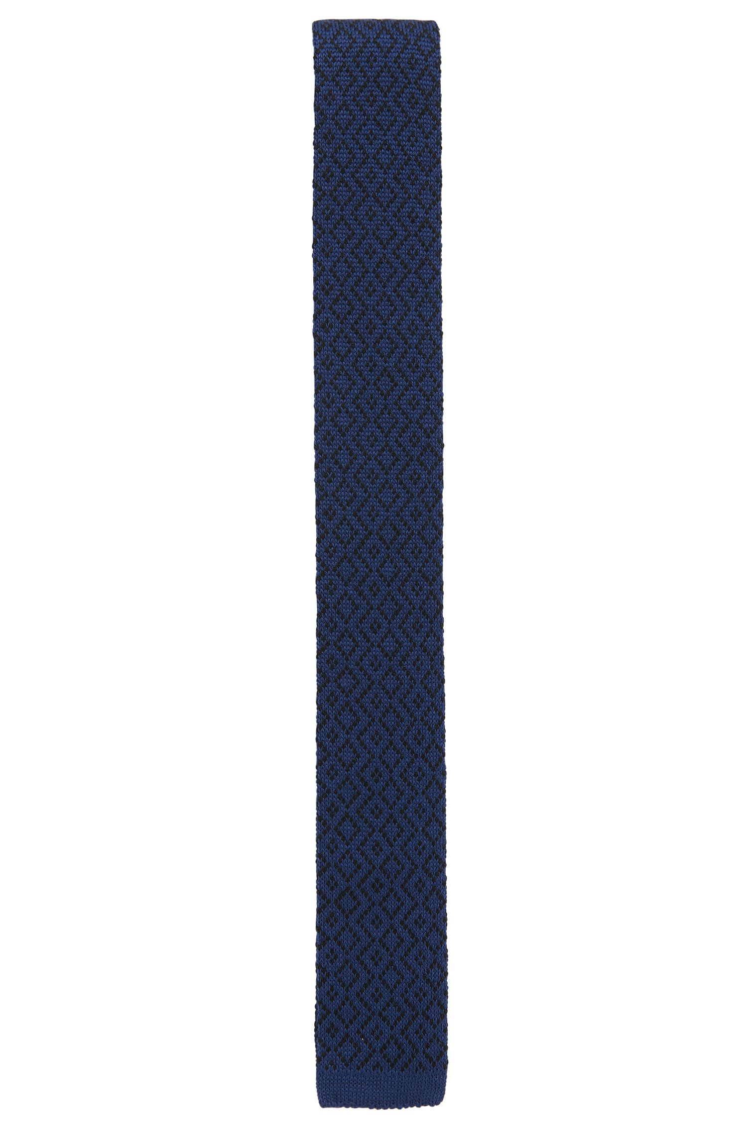 Geometric Wool Knit Skinny Tie