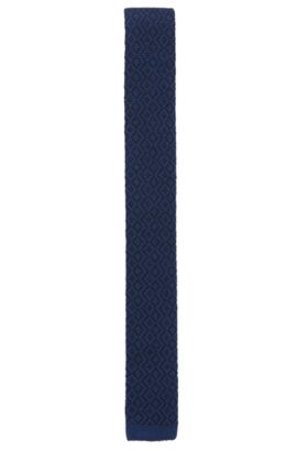 Geometric Wool Knit Skinny Tie, Dark Blue
