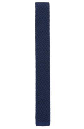 'Tie 5 cm' | Skinny, Geometric Wool Knit Tie, Dark Blue