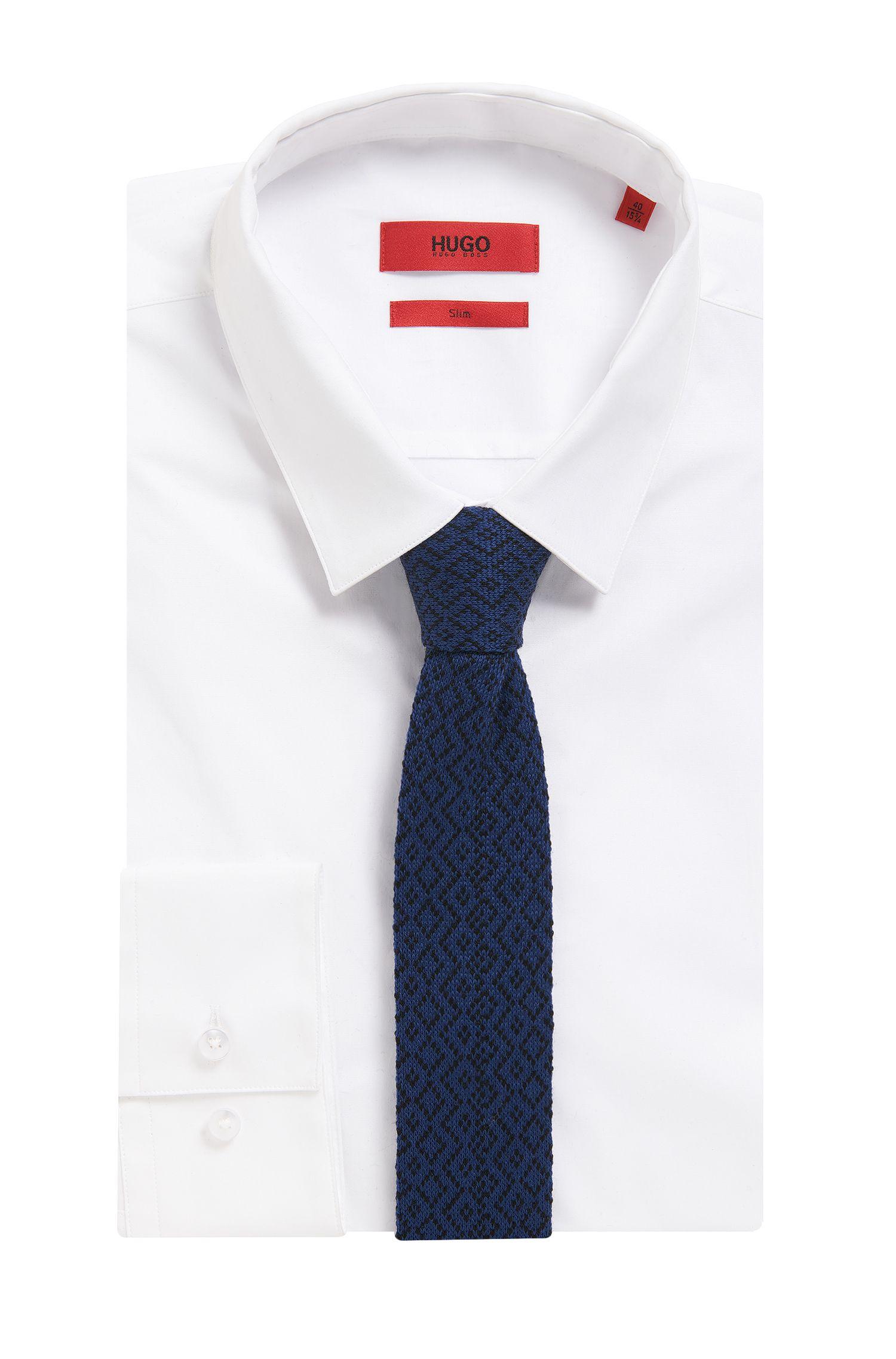 Geometric Wool Knit Skinny Tie, Dark Blue
