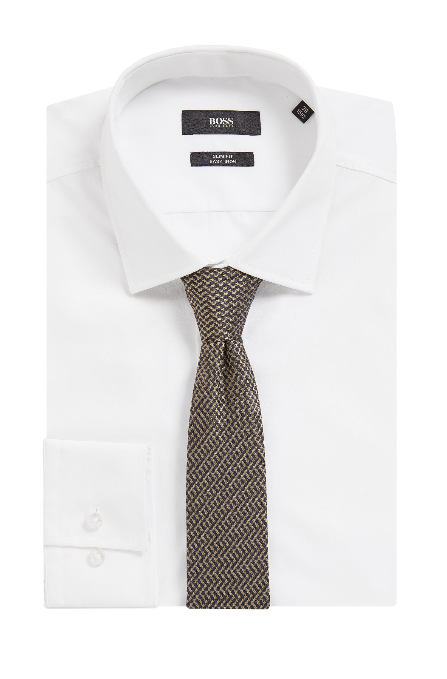 Dobby Italian Silk Slim Tie, Open Green