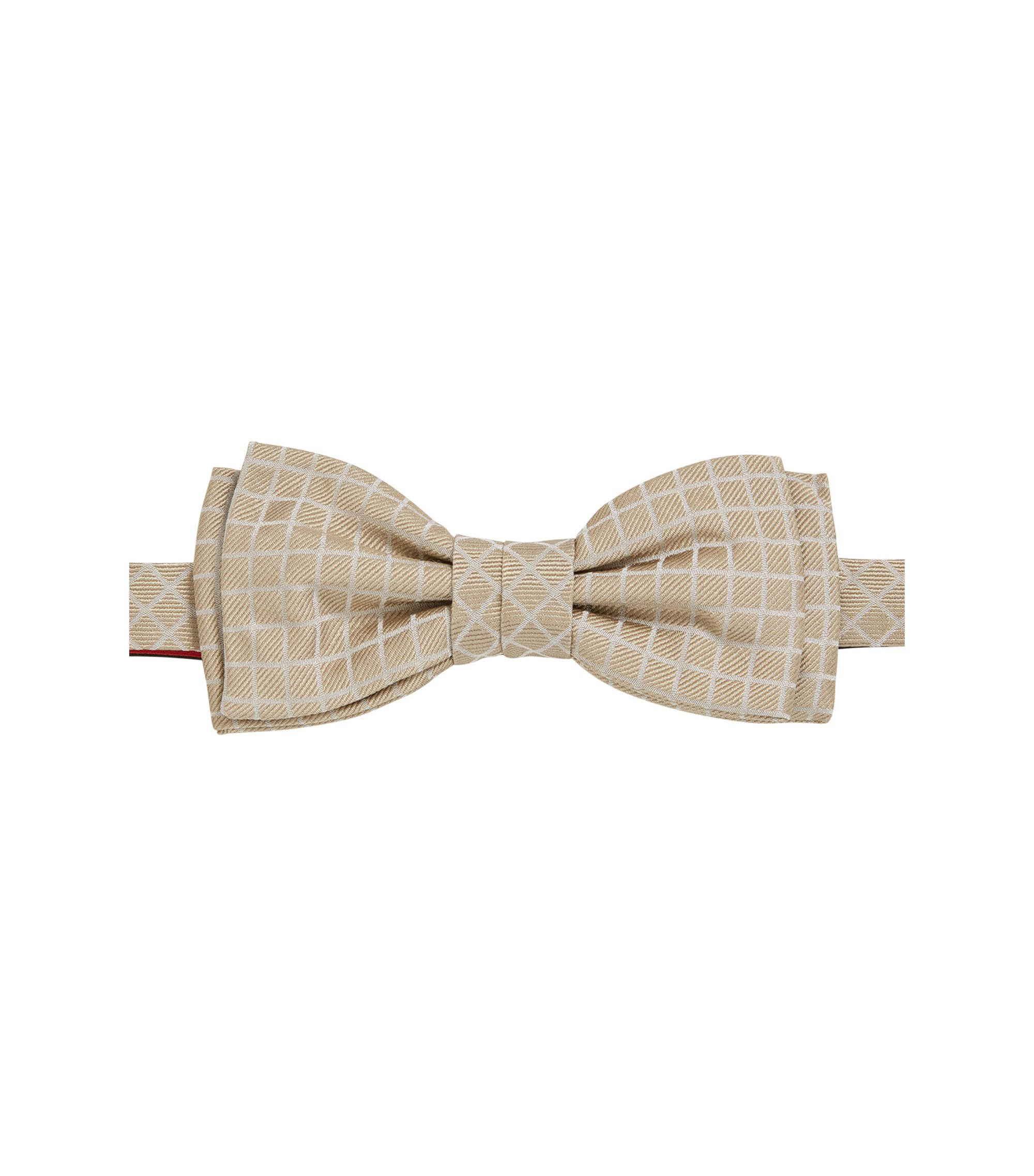 Checked Italian Silk Bow Tie, Light Beige