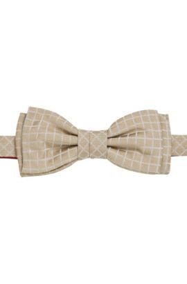 'Bow Tie' | Patterned Silk Bow Tie, Light Beige