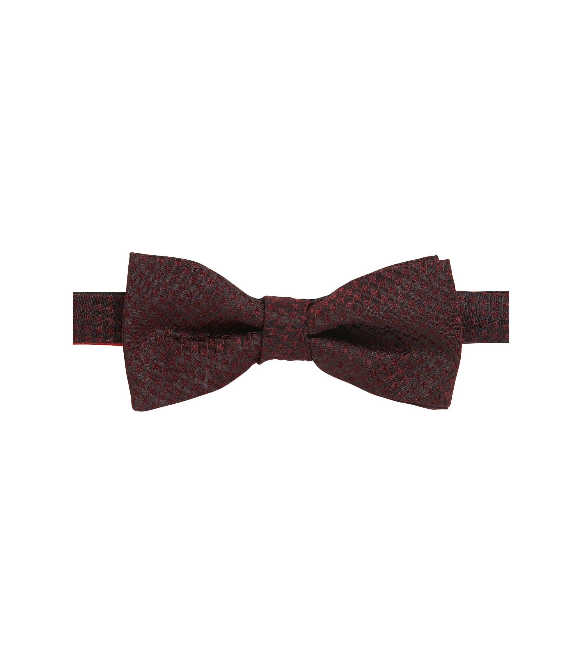 Zig Zag Italian Silk Bow Tie, Dark Red