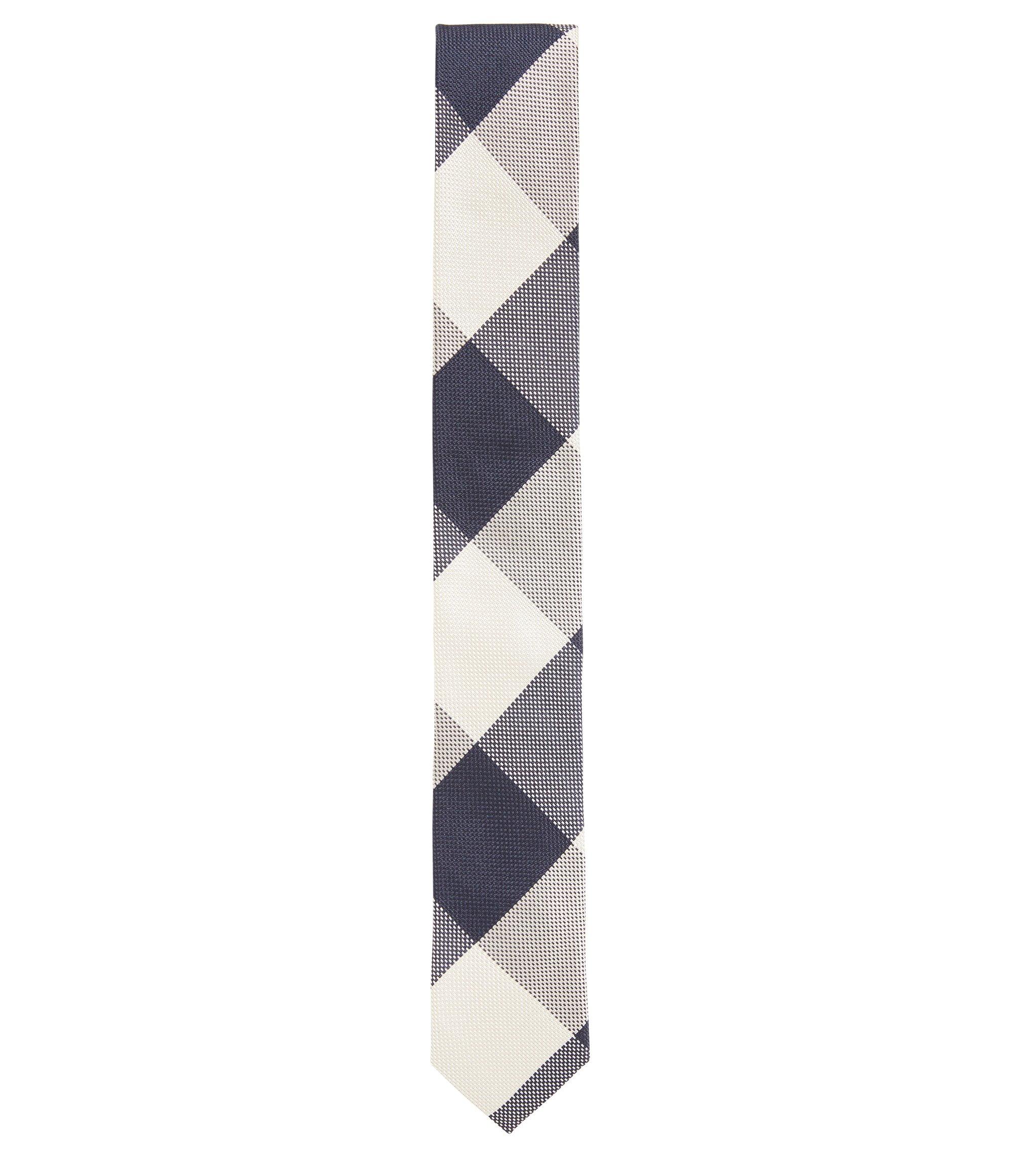 Plaid Italian Silk Slim Tie, Dark Blue