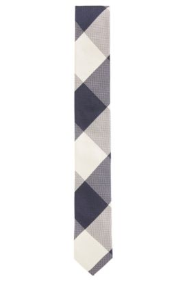 Plaid Italian Silk Slim Tie, Dark Blue