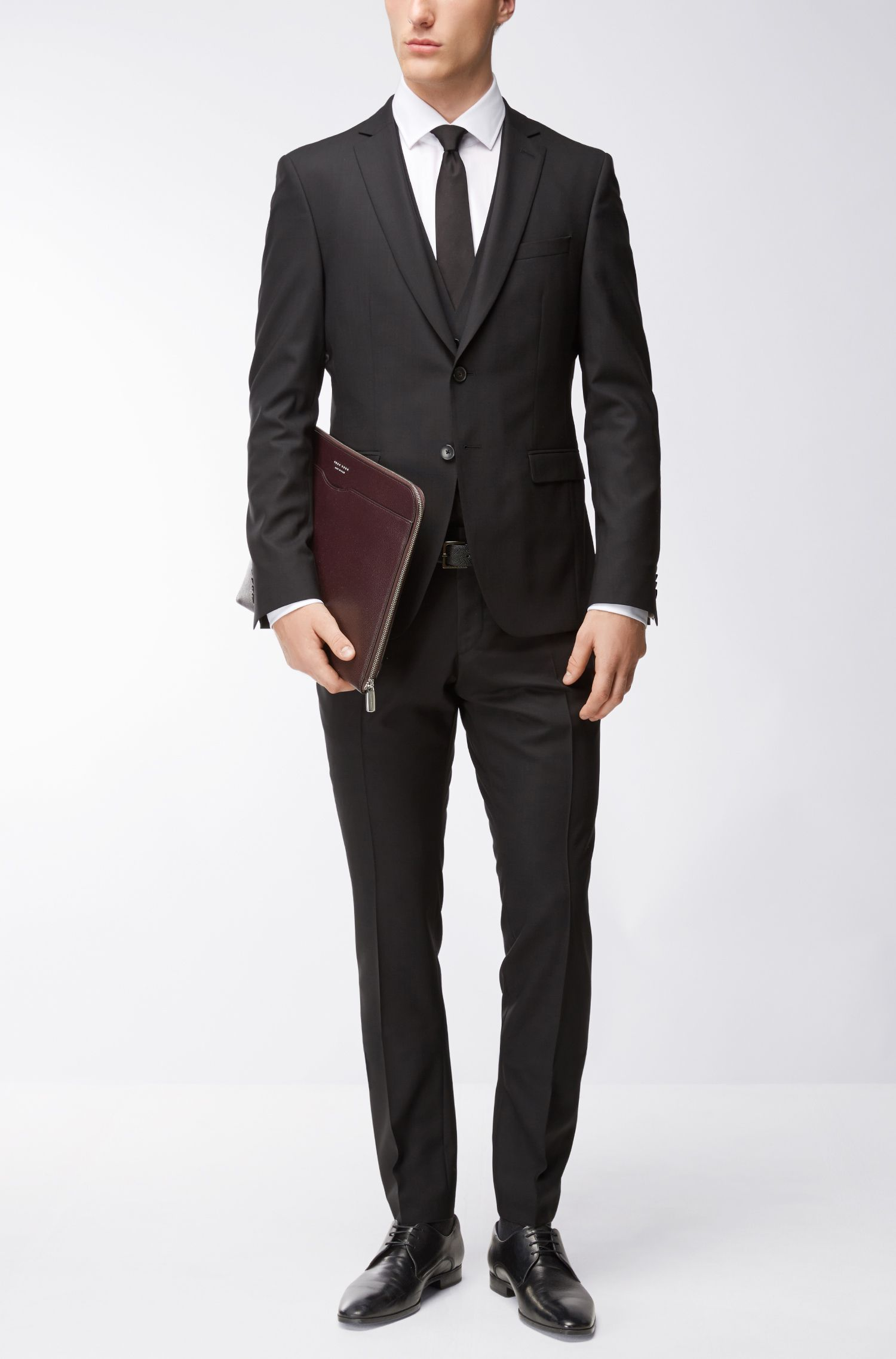 Virgin Wool 3-Piece Suit, Extra Slim Fit | Reymond/Wenton WE, Black