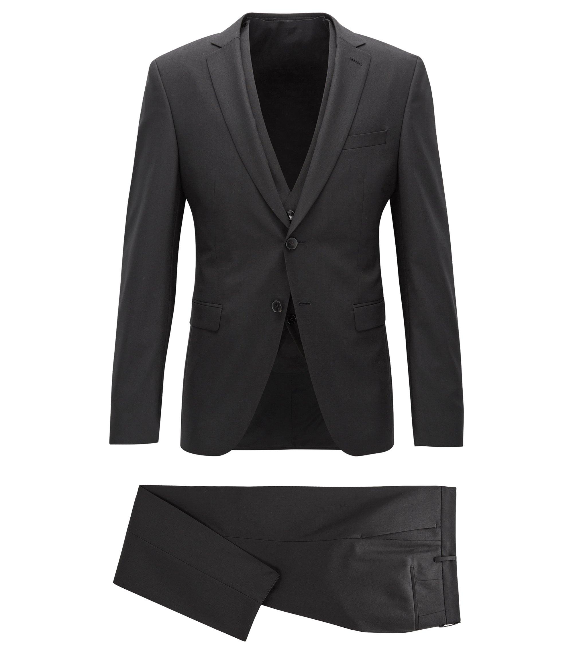 Virgin Wool 3-Piece Suit, Extra Slim Fit | Reymond/Wenton WE, Black