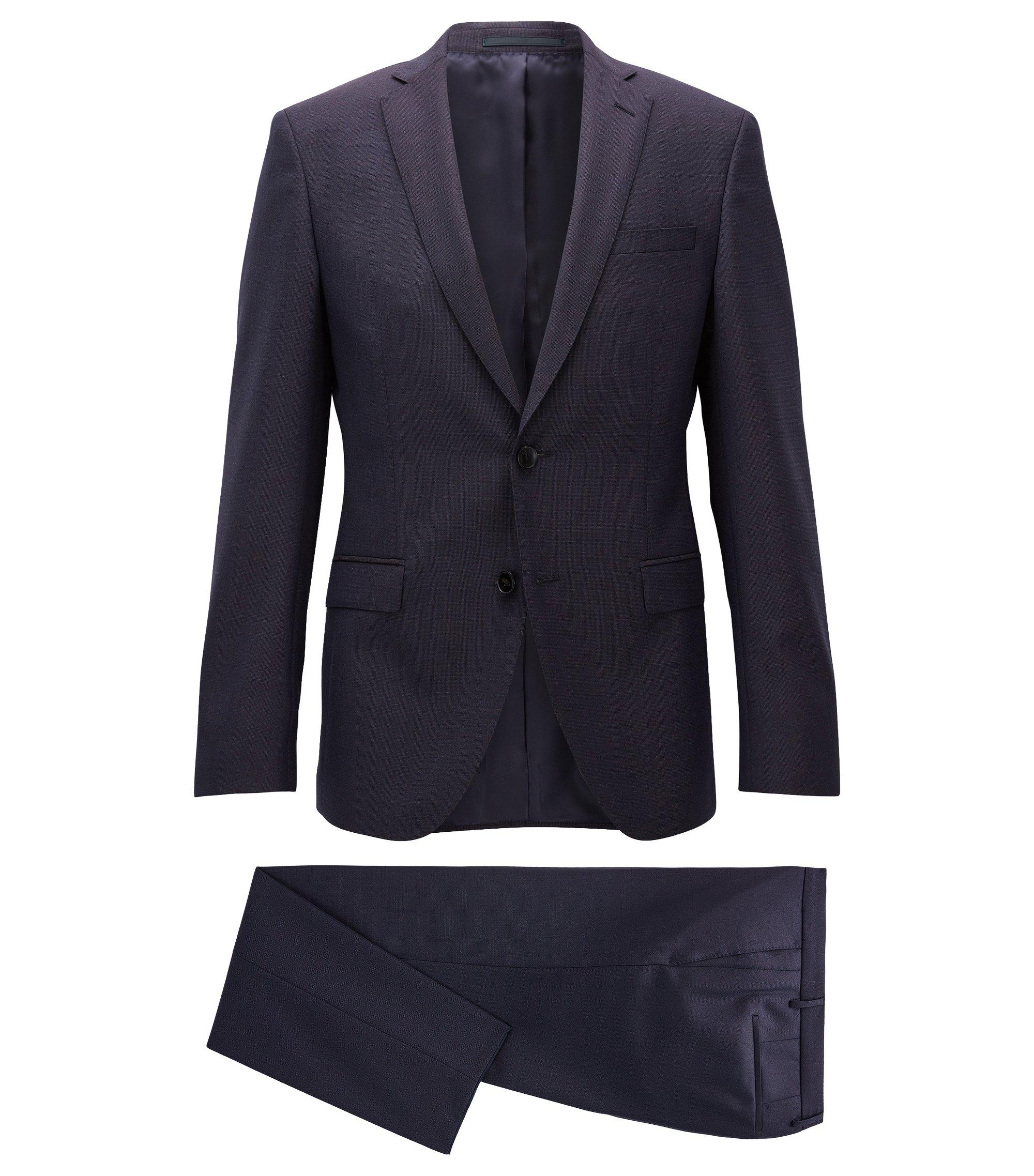 Italian Virgin Wool Suit, Extra Slim Fit | Reyno/Wave, Dark Red