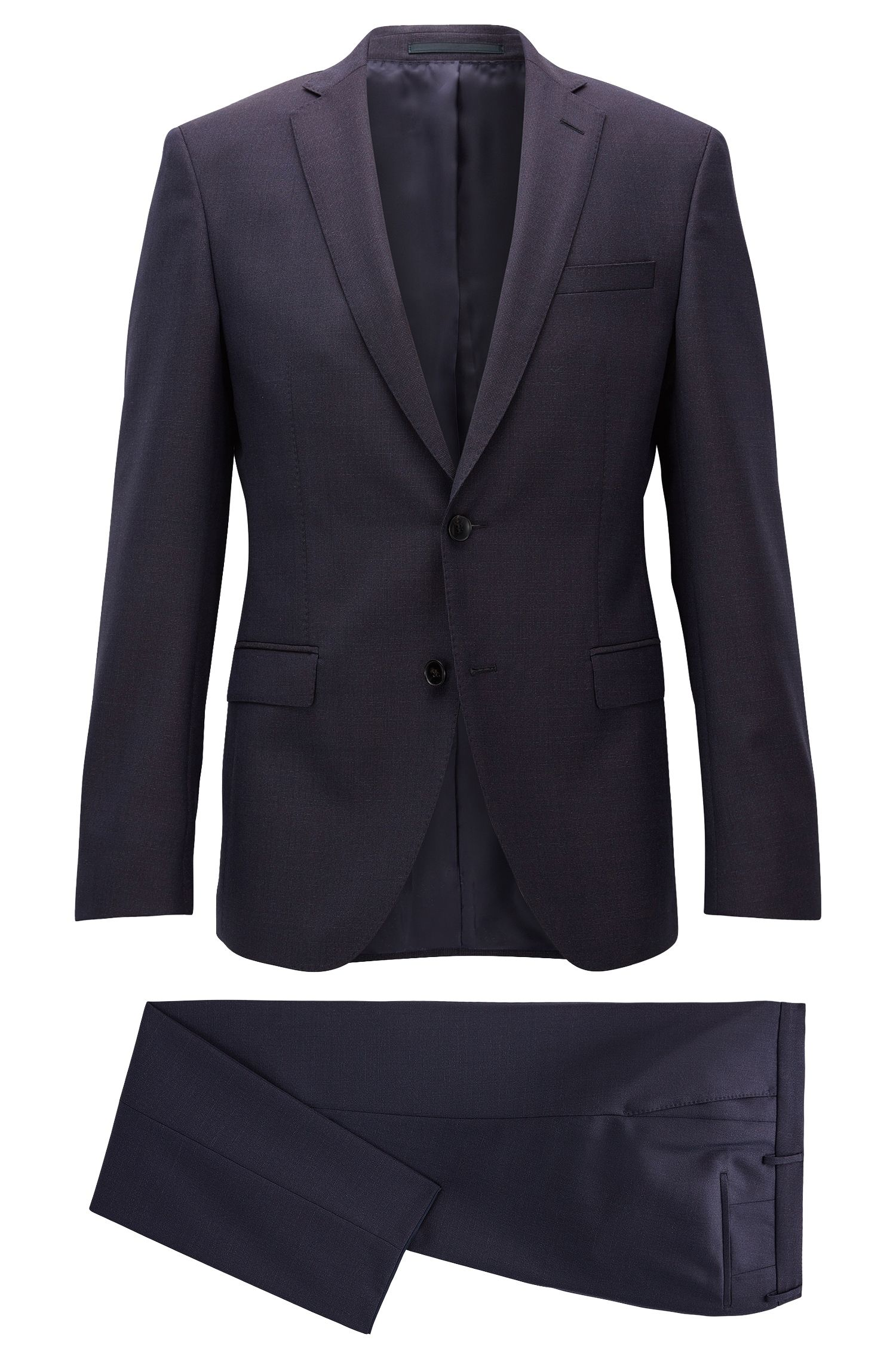 Italian Virgin Wool Suit, Extra Slim Fit   Reyno/Wave