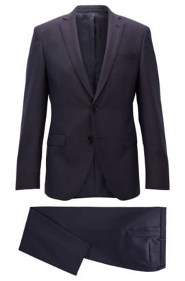 Italian Super 130 Virgin Wool Suit, Extra Slim Fit | Reyno/Wave, Dark Red
