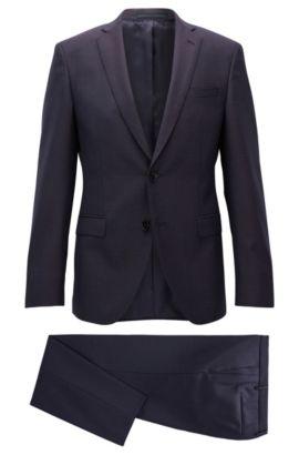 'Reyno/Wave' | Extra Slim Fit, Italian Super 130 Virgin Wool Suit, Dark Red