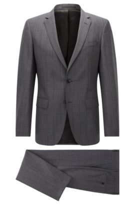Italian Super 110 Virgin Wool Suit, Slim Fit | Huge/Genius, Grey