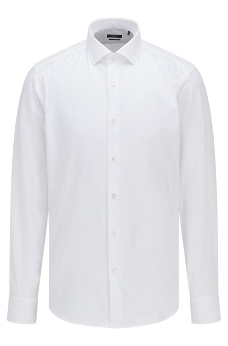 Regular-fit shirt in solid cotton twill, White