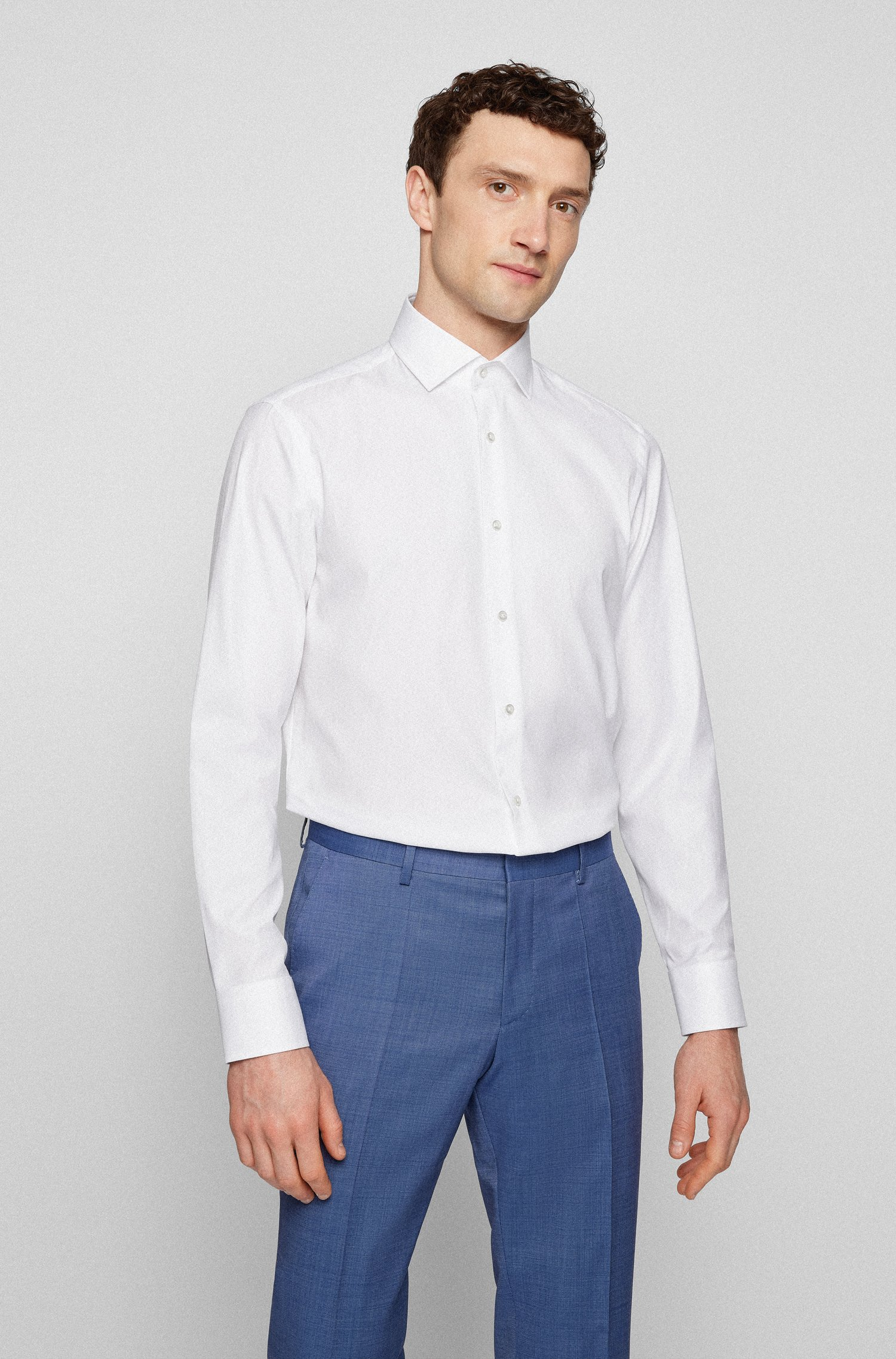 Regular-fit shirt in cotton twill with spread collar, White