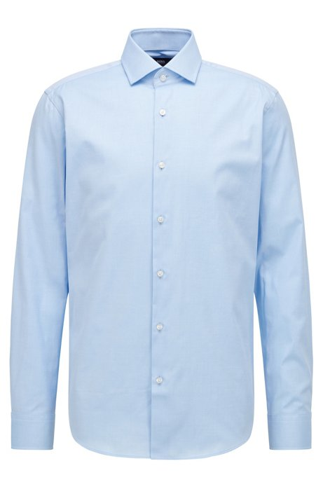 Regular-fit shirt in solid cotton twill, Light Blue