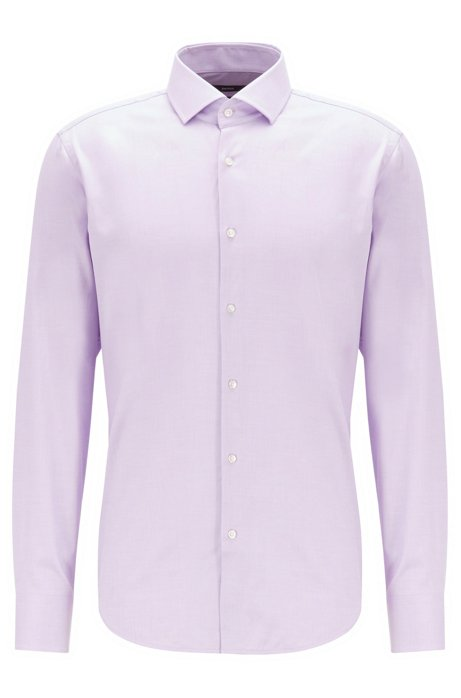 Regular-fit shirt in cotton twill with spread collar, Light Purple