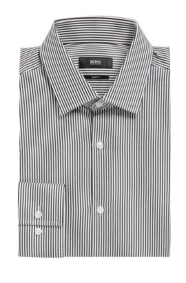 Cotton Dress Shirt, Slim Fit | Jenno, Black