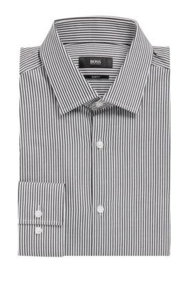 'Jenno' | Slim Fit, Cotton Dress Shirt, Black