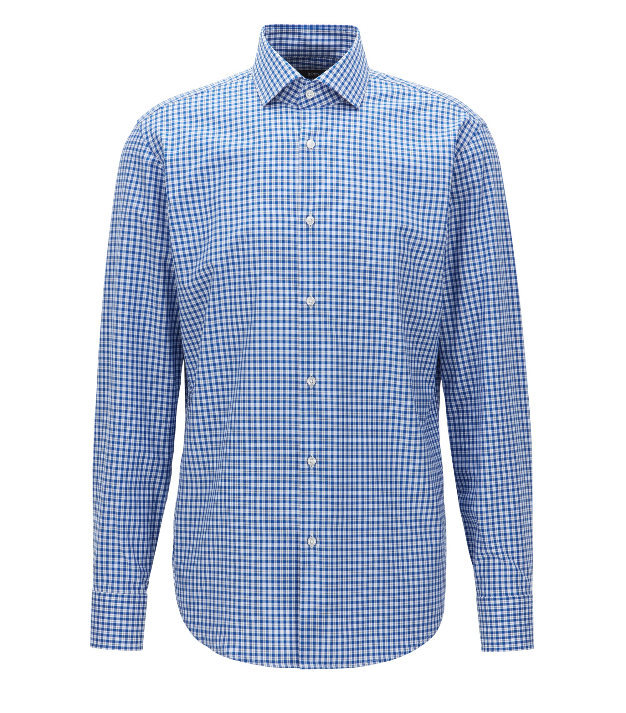 Checked Cotton Dress Shirt, Regular Fit | Gordon, Blue