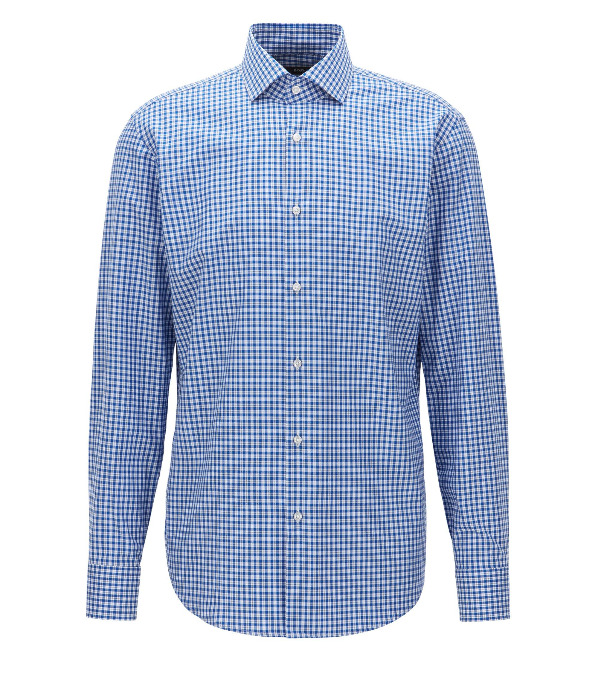 Houndstooth Check Cotton Dress Shirt, Regular Fit | Gordon, Blue