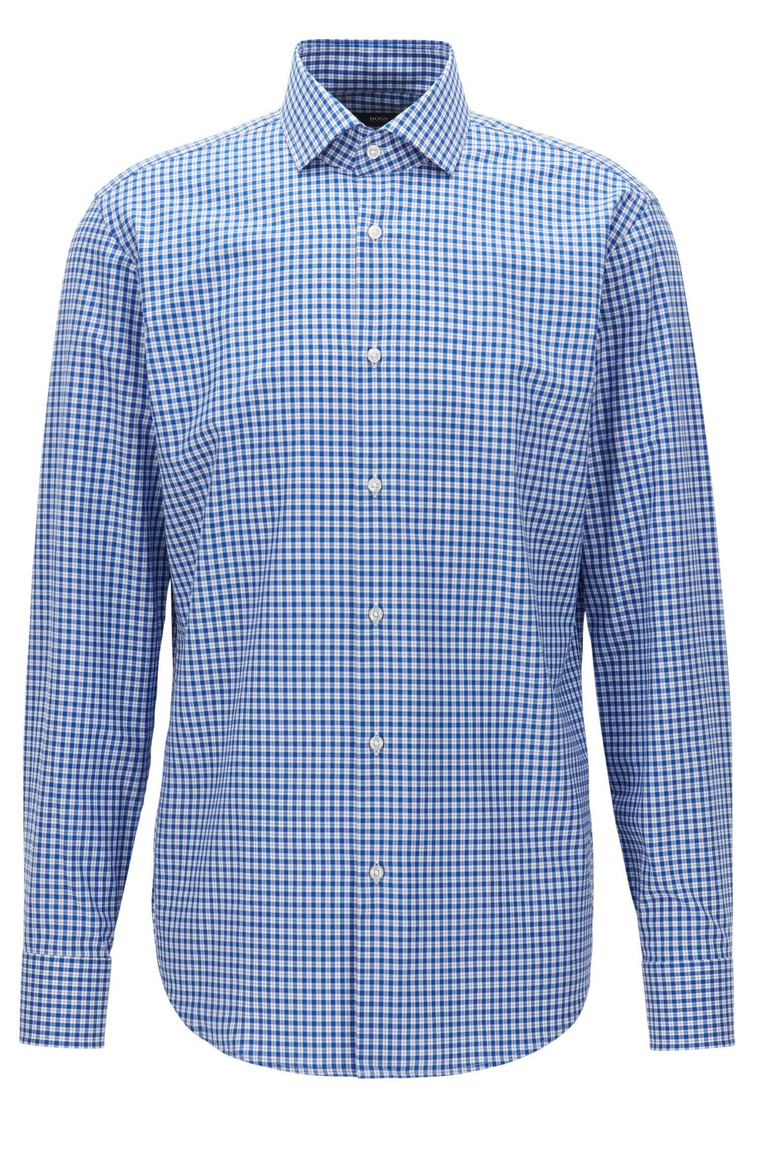 Checked Cotton Dress Shirt, Regular Fit | Gordon