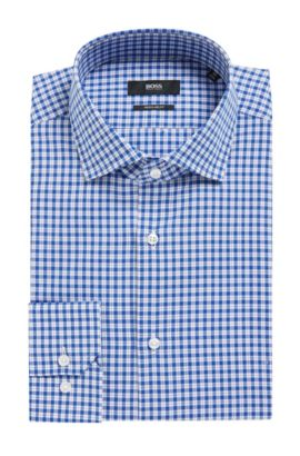 'Gordon' | Regular Fit, Houndstooth Check Cotton Dress Shirt, Blue