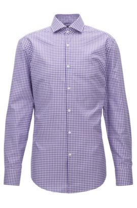 Check Cotton Dress Shirt, Slim Fit | Jason, Purple