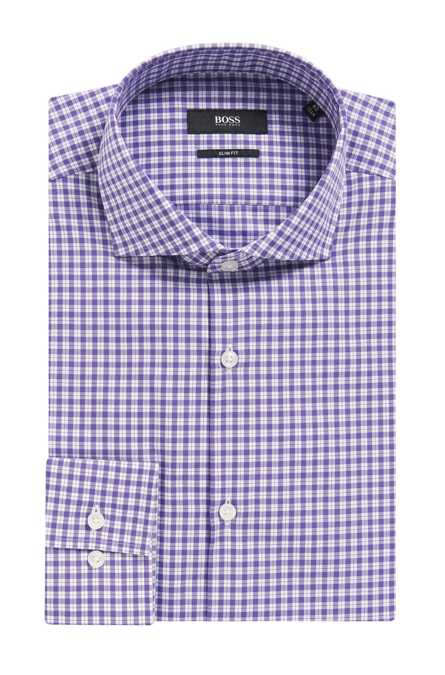 Check Cotton Dress Shirt, Slim Fit | Jason