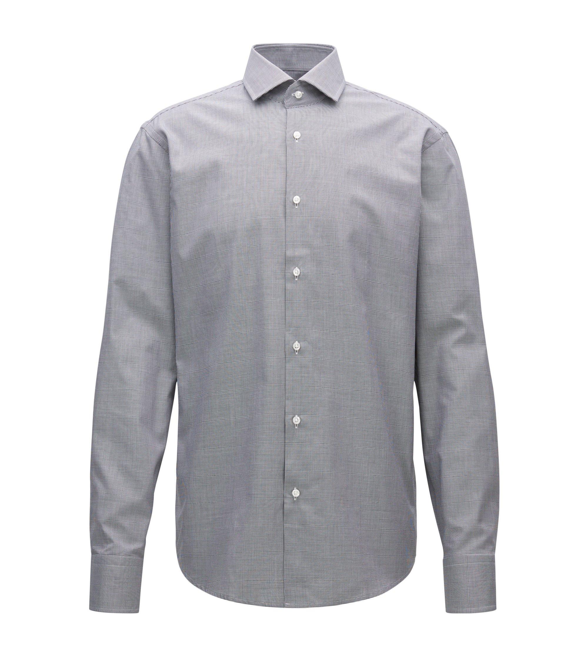 Micro-Houndstooth Cotton Dress Shirt, Regular Fit   Gordon, Black