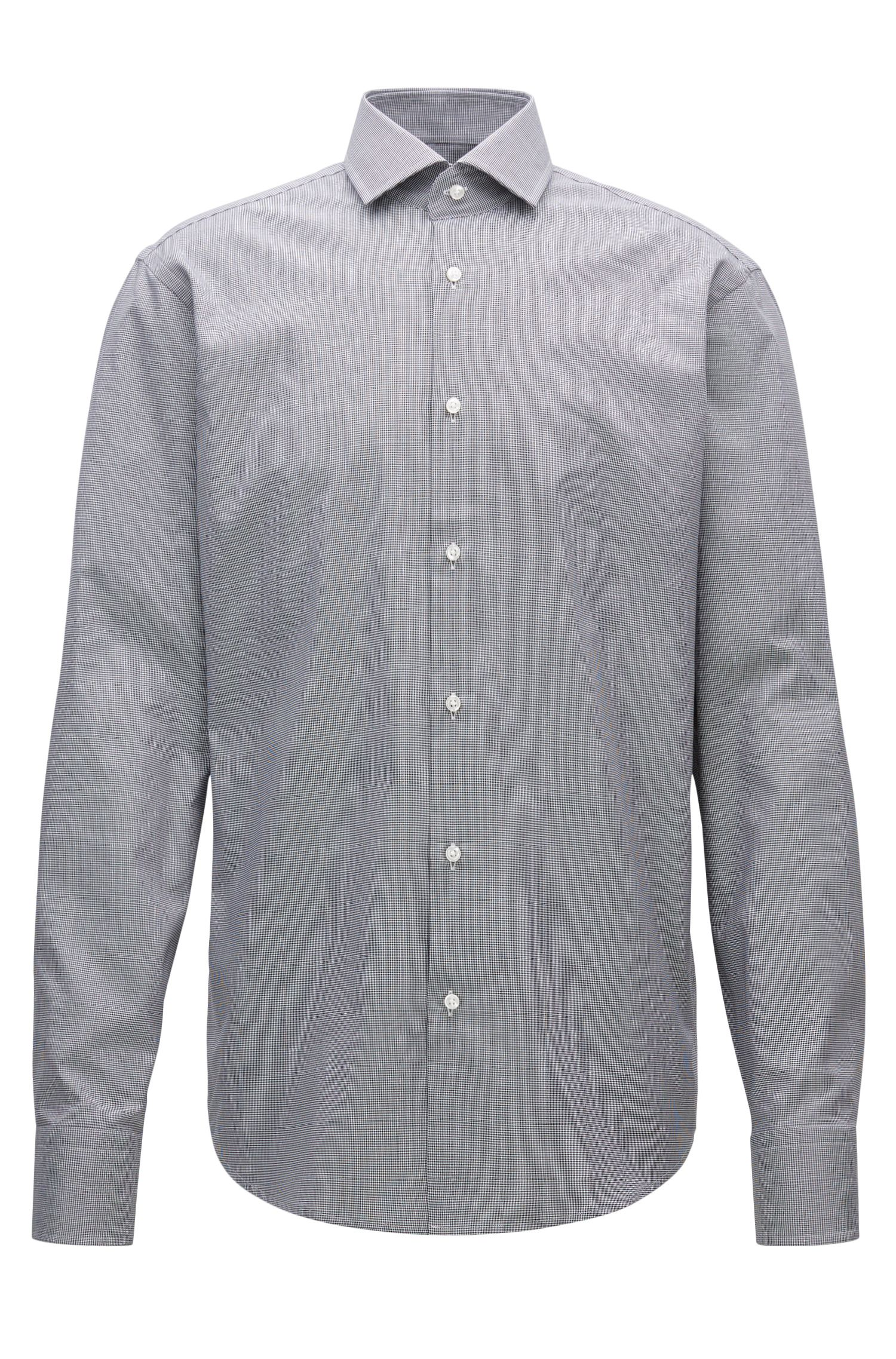 Micro-Houndstooth Cotton Dress Shirt, Regular Fit | Gordon
