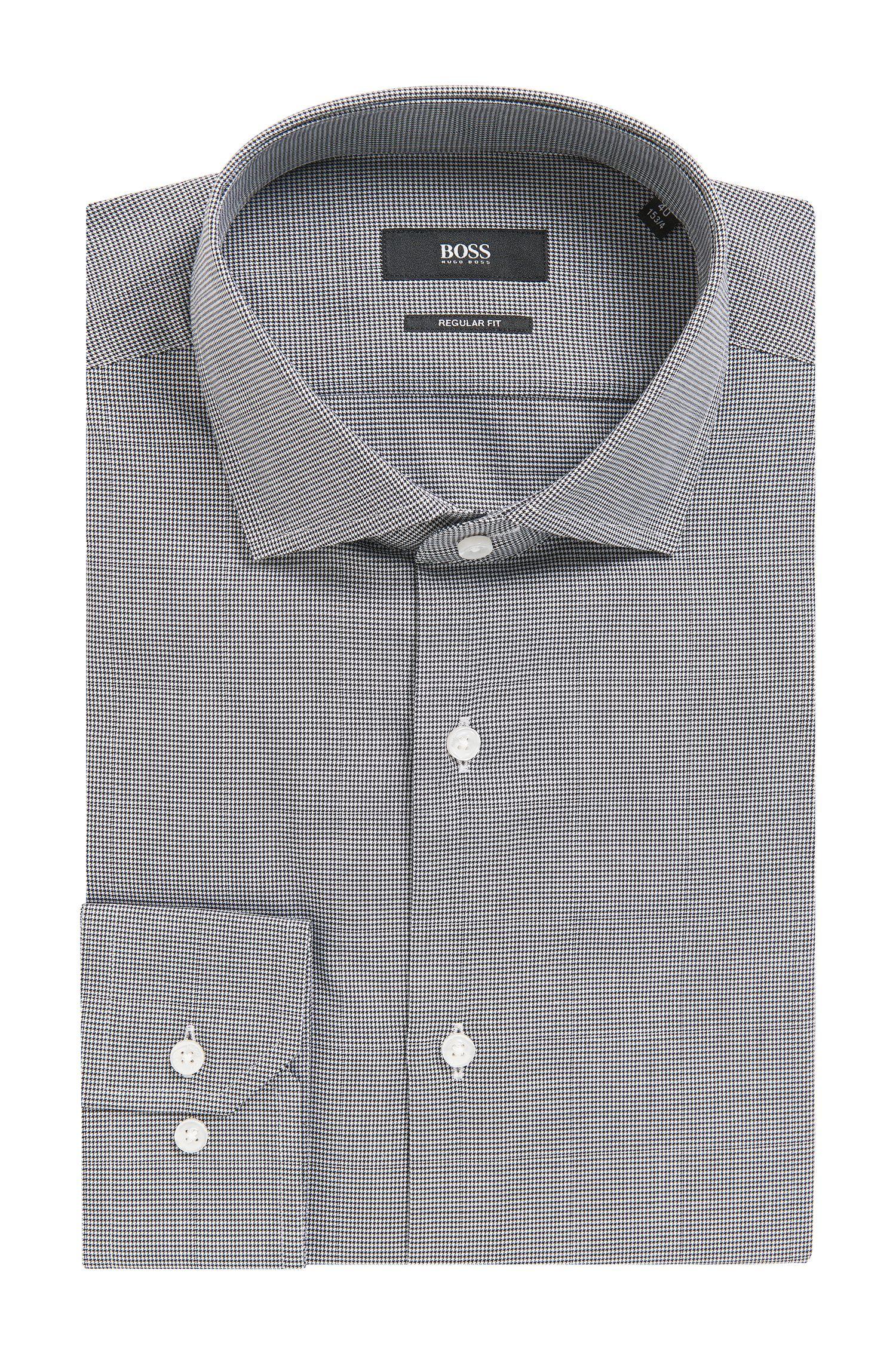 'Gordon'   Regular Fit, Micro-Houndstooth Cotton Dress Shirt
