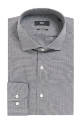 'Gordon' | Regular Fit, Micro-Houndstooth Cotton Dress Shirt, Black
