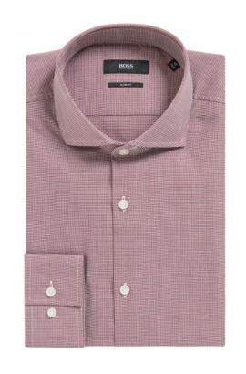 'Jason' | Slim Fit, Micro-Houndstooth Cotton Dress Shirt, Dark Red