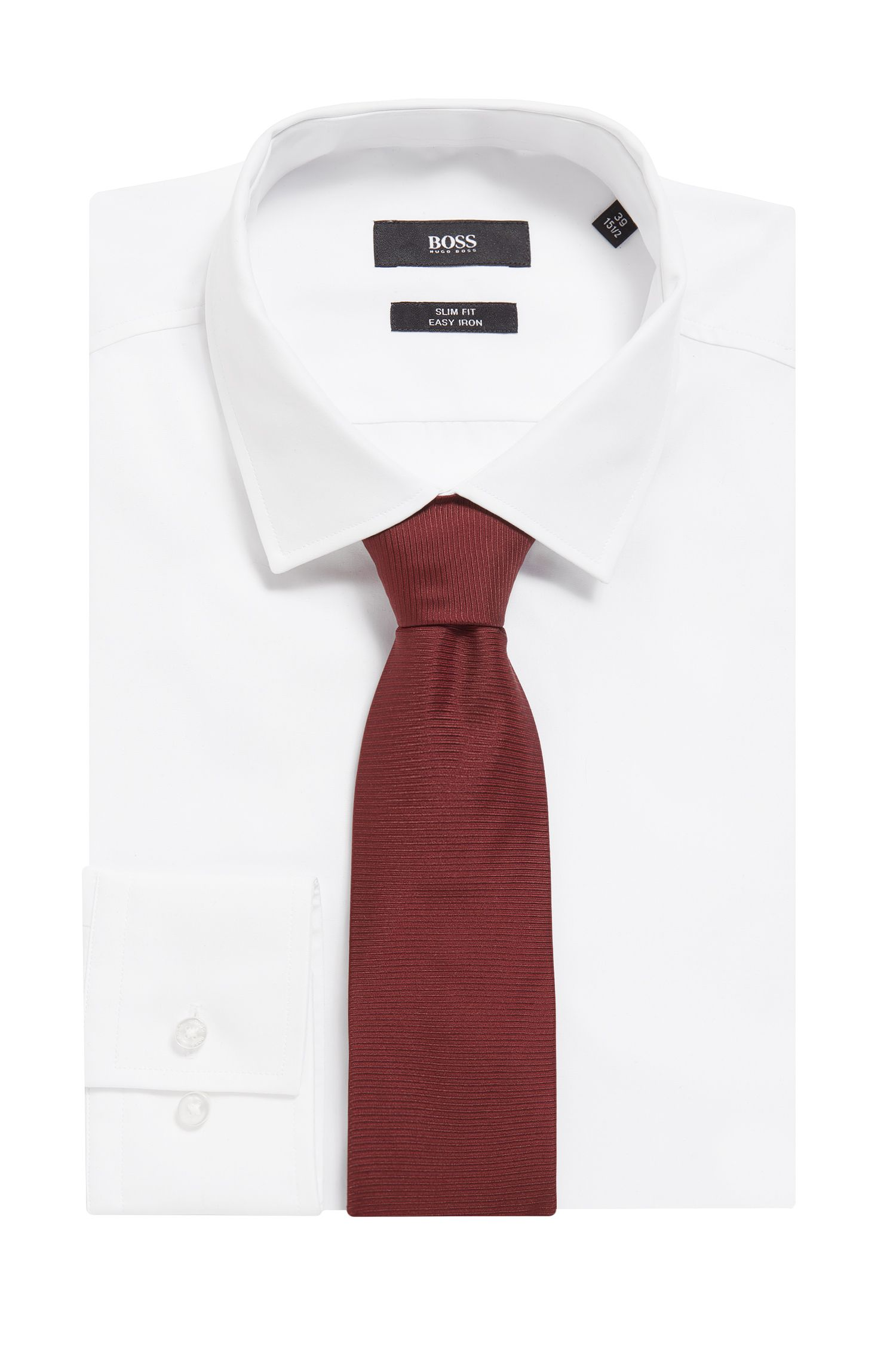 Striped Italian Silk Tie, Red