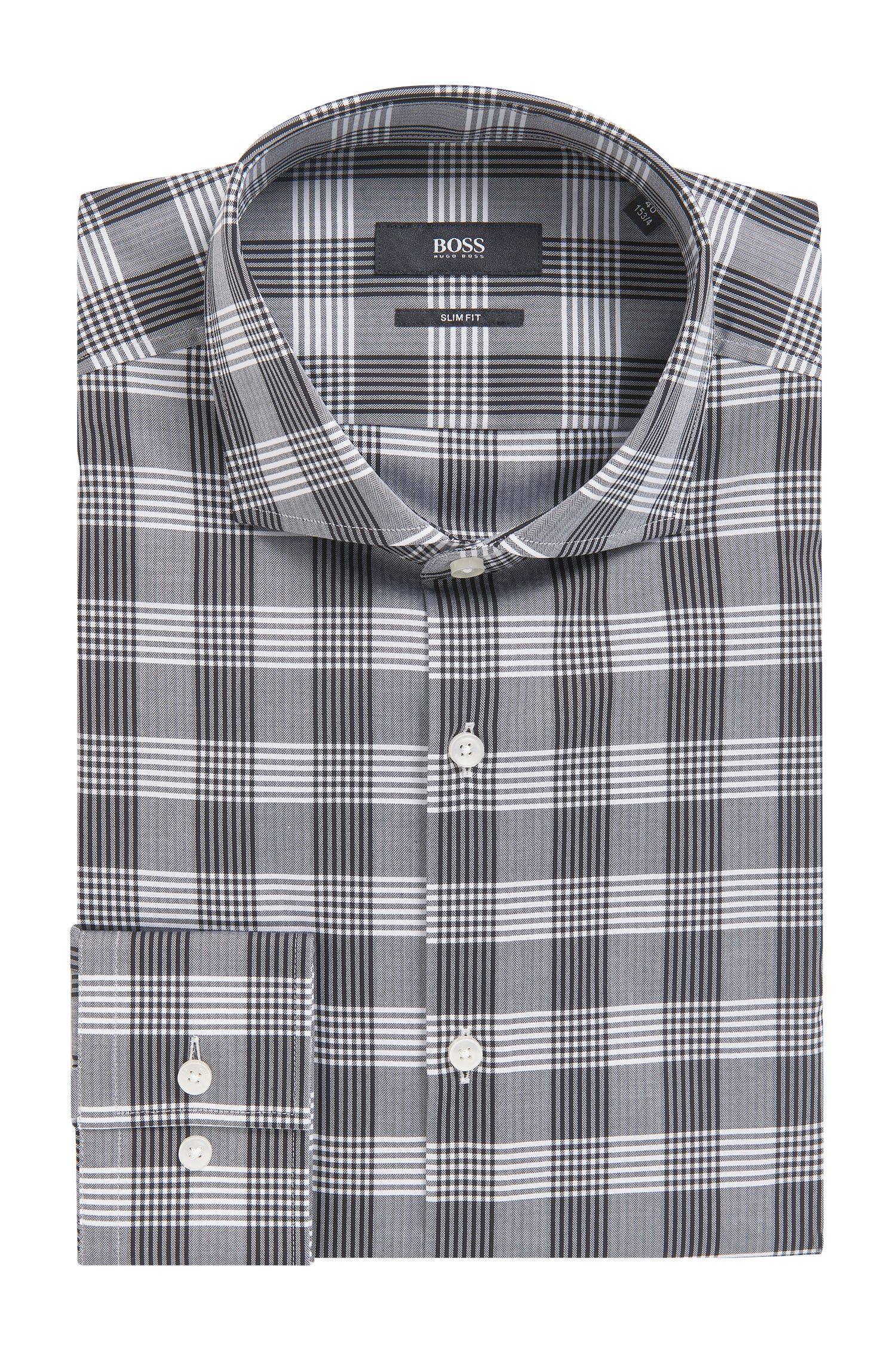 'Jason' | Slim Fit, Herringbone Check Cotton Dress Shirt