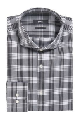 Herringbone Check Cotton Dress Shirt, Slim Fit | Jason, Black