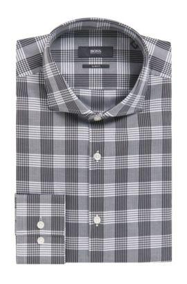 'Jason' | Slim Fit, Herringbone Check Cotton Dress Shirt, Black