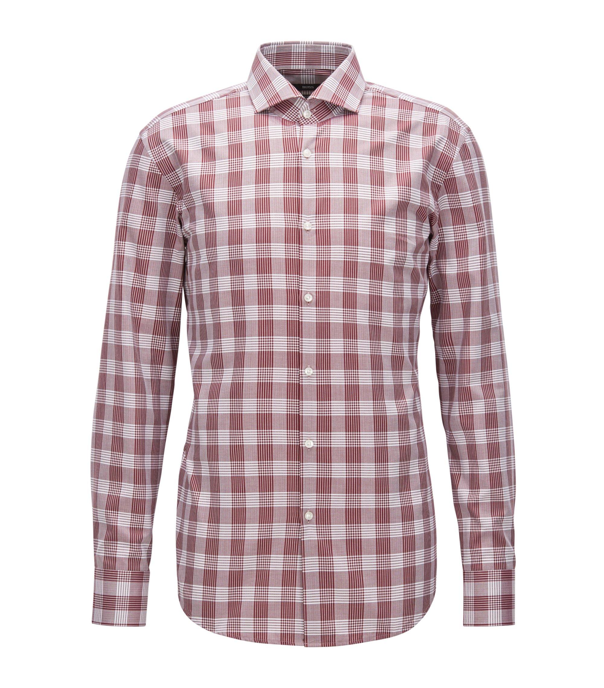 Herringbone Check Cotton Dress Shirt, Slim Fit | Jason, Dark Red