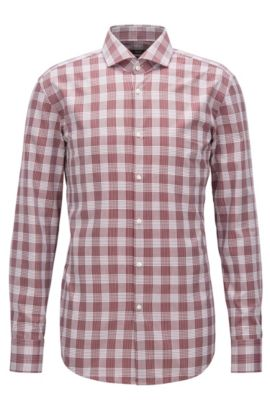 Herringbone Check Cotton Dress Shirt, Slim Fit | Jason, Dark Red