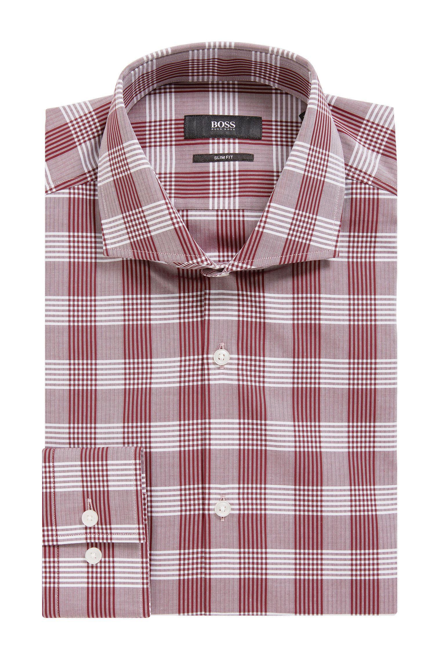 Herringbone Check Cotton Dress Shirt, Slim Fit | Jason