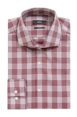 'Jason' | Slim Fit, Herringbone Check Cotton Dress Shirt, Dark Red