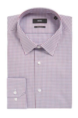 'Enzo' | Regular Fit, Check Cotton Dress Shirt, Red