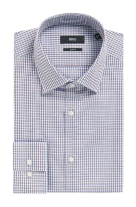 'Jenno' | Slim Fit, Plaid Cotton Dress Shirt, Brown