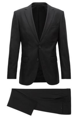 'Nestro/Byte' | Slim Fit, Virgin Wool Travel Suit, Black