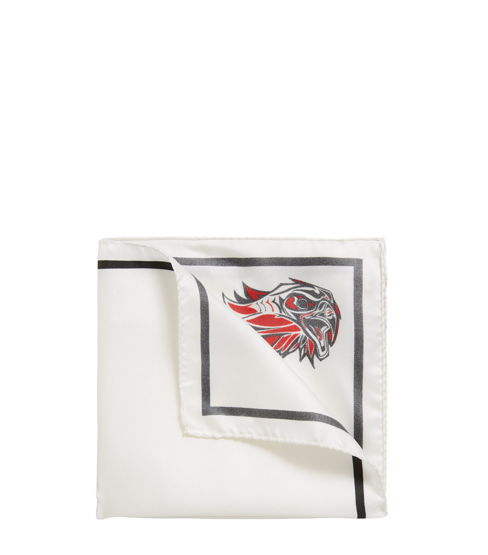 'Pocket sq. 33x33 cm' | Patterned Italian Silk Pocket Square, Open White