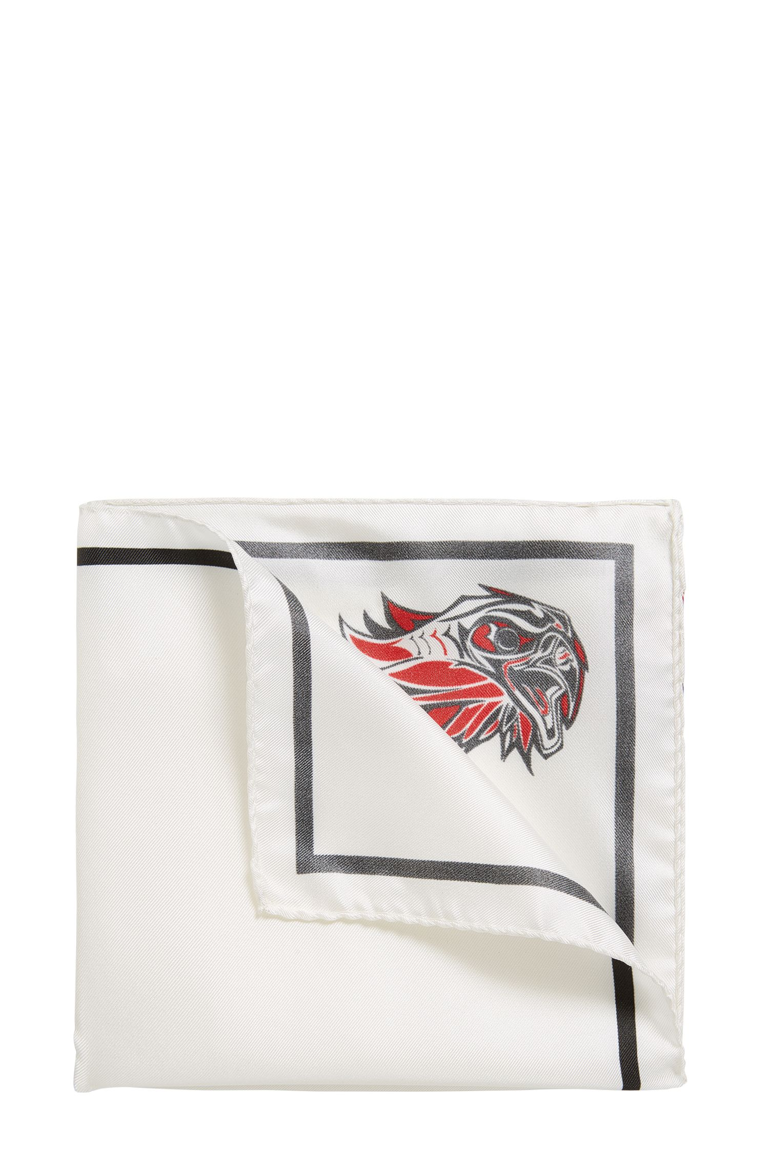 'Pocket sq. 33x33 cm' | Patterned Italian Silk Pocket Square