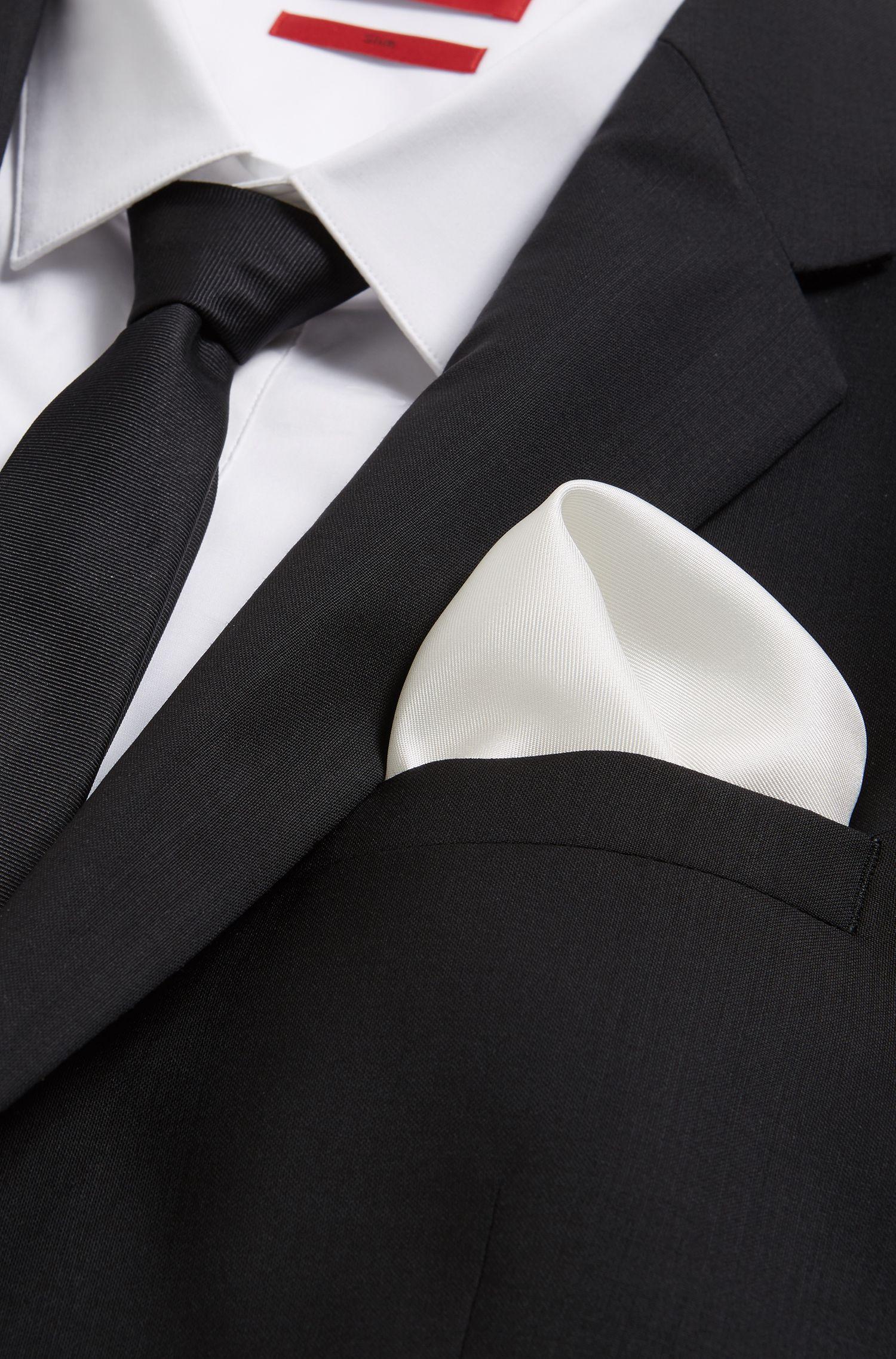 'Pocket sq. 33x33 cm' | Patterned Italian Silk Pocket Square, Open White