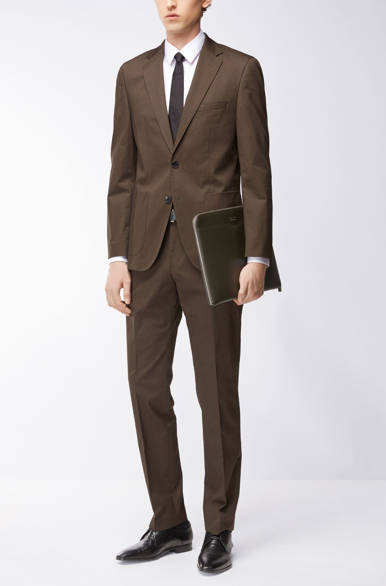 Heathered Stretch Cotton Suit, Regular Fit | Jalston/Lenon, Open Green