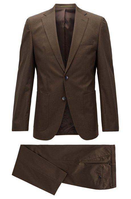 bbcaec7d BOSS - Heathered Stretch Cotton Suit, Regular Fit | Jalston/Lenon